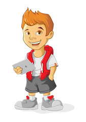 Boy Cartoon character holding a computer tablet. Vector illustration in cartoon style.