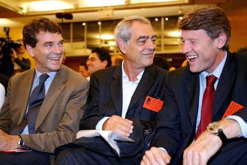 French Socialist deputies (L-R) Arnaud Montebourg, Henri Emmanuelli and Vincent Peillon who is a soc..