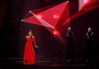 "Lithuania's Fusedmarc performs with the song ""Rain Of Revolution"" during the Eurovision Song Contest 2017 Semi-Final 2 Dress rehearsal 1 at the International Exhibition Centre in Kiev"