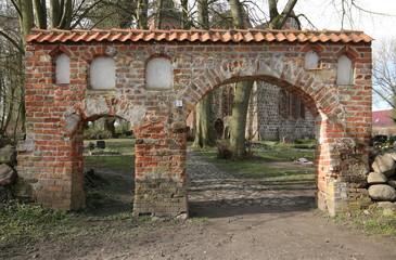 Portal of cemetery in Gross Kiesow, Mecklenburg-Vorpommern, Germany
