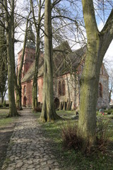 Church and cemetery in Gross Kiesow, Mecklenburg-Vorpommern, Germany