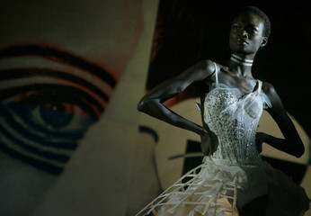 MODEL DISPLAYS AN OUTFIT AS PART OF GATTINONI'S SPRING/SUMMER 2004 HAUTE COUTURE COLLECTION IN ROME.