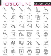 Graphic design program tools icon palettes thin line web icons set. Interface outline stroke icon design.