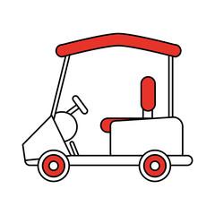 color silhouette cartoon golf cart vehicle vector illustration