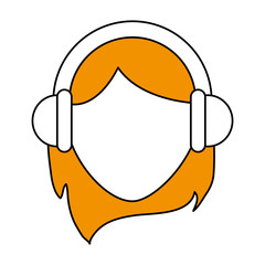 color silhouette cartoon faceless front view blond woman customer service with headphones vector illustration