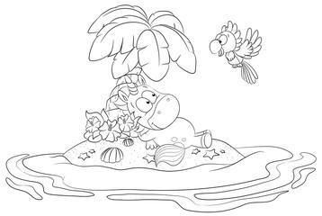 Einhorn auf einsamer Insel Vektor Illustration