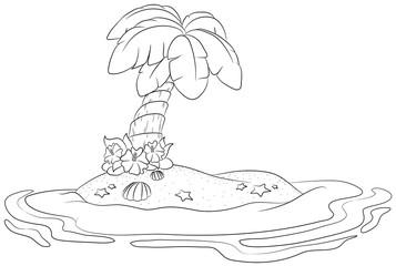 Niedliche einsame Insel Vektor Illustration