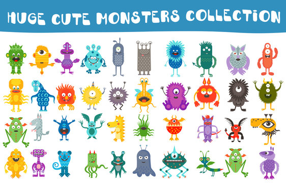 Vector cute monsters collection set