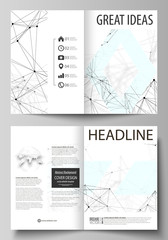 Business templates for bi fold brochure, flyer, report. Cover design template, vector layout in A4 size. Chemistry pattern, connecting lines and dots, molecule structure on white, geometric background
