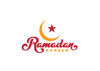 Ramadan Kareem text Vector Lettering greeting card design template..Vintage retro calligraphic typography poster with Moon and Mosque.