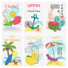 Summer holidays vacation poster set. Greeting and invitation lettering card. Tropical vacation vector illustration.
