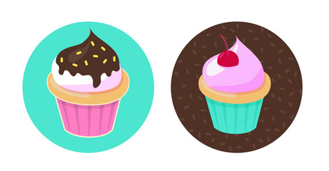 Cupcakes set. Vector illustration.