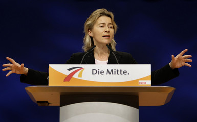 Germany's Family Minister von der Leyen gives a speech during the CDU party congress in Hanover