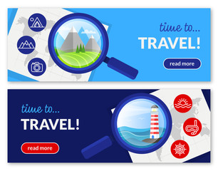 Time to travel! Set of two web banners.