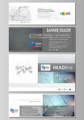 Social media and email headers set, modern banners. Abstract design templates, vector layouts. Compounds lines and dots. Big data visualization in minimal style. Graphic communication background.