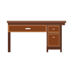 office desk wooden furniture elegant image vector illustartion