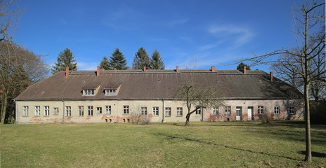 Former logistics and officers building on palace grounds in Griebenow, Mecklenburg-Vorpommern, Germany