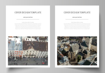 Business templates for brochure, magazine, flyer, report. Cover design template, abstract vector layout in A4 size. Colorful background made of dotted texture for travel business, urban cityscape.