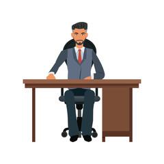 business man desk workspace sitting image vector illustration