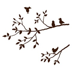 Branch of a tree with birds isolated on a white background. Vector illustration.