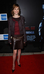 HILLARY SWANK ARRIVES AT INSOMNIA PREMIER.