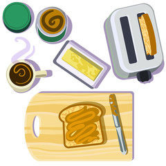 Peanut butter with toast and coffee, a toaster, butter dish and cutting board on white background.