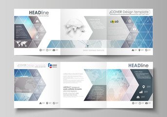 The minimalistic vector illustration of editable layout. Two modern creative covers design templates for square brochure or flyer. Polygonal geometric linear texture. Global network, dig data concept.