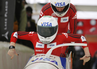 Upperton and Ciochetti compete in the women's bobsleigh at the FIBT World Bobsleigh Championships in Lake Placid