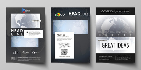 The black colored vector illustration of the editable layout of A4 format covers design templates for brochure, magazine, flyer, booklet. Abstract futuristic network shapes. High tech background.