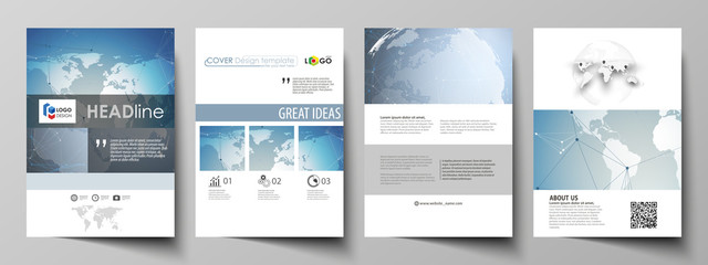 The vector illustration of the editable layout of A4 format covers design templates for brochure, magazine, flyer, booklet, report. Scientific medical DNA research. Science or medical concept.