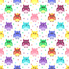 Emotions of colorful owls with stars