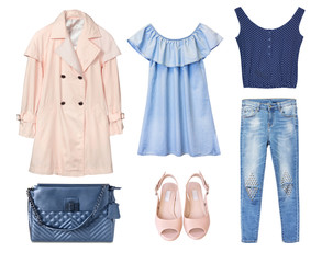 Female set of clothes.Fashion women jean clothing isolated.