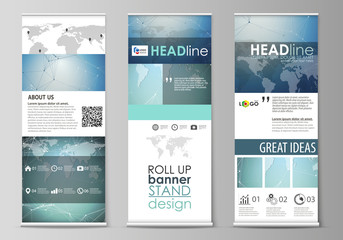 The minimalistic vector illustration of the editable layout of roll up banner stands, vertical flyers, flags design business templates. Chemistry pattern, connecting lines and dots. Medical concept.