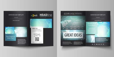 The black colored vector of the editable layout of two A4 format modern covers design templates for brochure, flyer, booklet. Chemistry pattern, molecule structure, geometric design background.