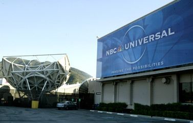 LARGE SIGN AT NBC STUDIOS DENOTES MERGER WITH UNIVERSAL ENTERTAINMENT.