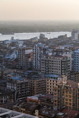 Ramshackle buildings at the downtown in Yangon (Rangoon), Myanmar (Burma) viewed from above in daylight.