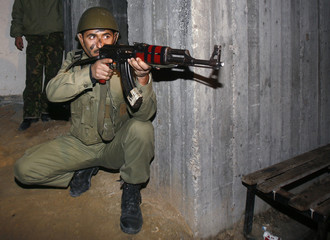 A Palestinian security force loyal to President Abbas attends a training exercise in Gaza