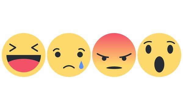 Emoji Set - Lachender Smiley, trauriger Smiley, wütender Smiley, erstaunter Smiley