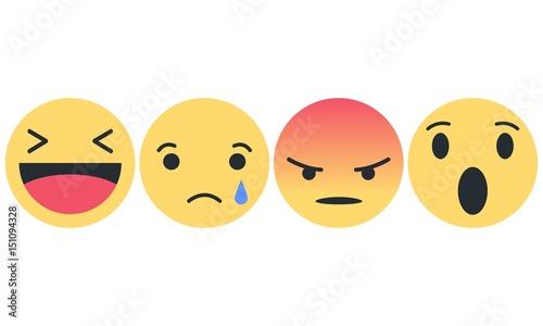 Emoji Set Lachender Smiley Trauriger Smiley Wütender Smiley