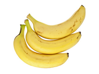 Ripe bananas on a white background, top view