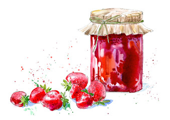 Sweet strawberry jam and berry. Watercolor hand drawn illustration.