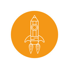 pencil rocket icon over orange circle and white background. vector illustration