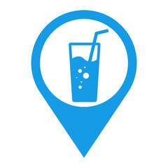 Icono plano localizacion vaso de refresco azul