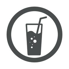 Icono plano vaso de refresco en circulo color gris