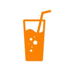 Icono plano vaso de refresco naranja en fondo blanco