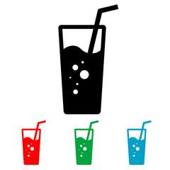 Icono plano vaso de refresco varios colores