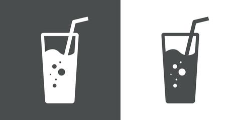 Icono plano vaso de refresco gris y blanco