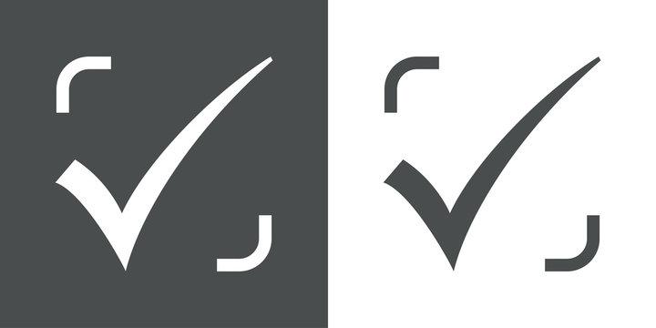 Logotipo verificacion gris y blanco
