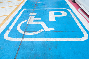 Logos for disabled on parking. handicap parking place sign