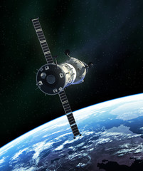 Fototapete - Russian Spacecraft In Outer Space
